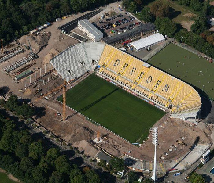 Stadion Dresden Bauphase Luftbild